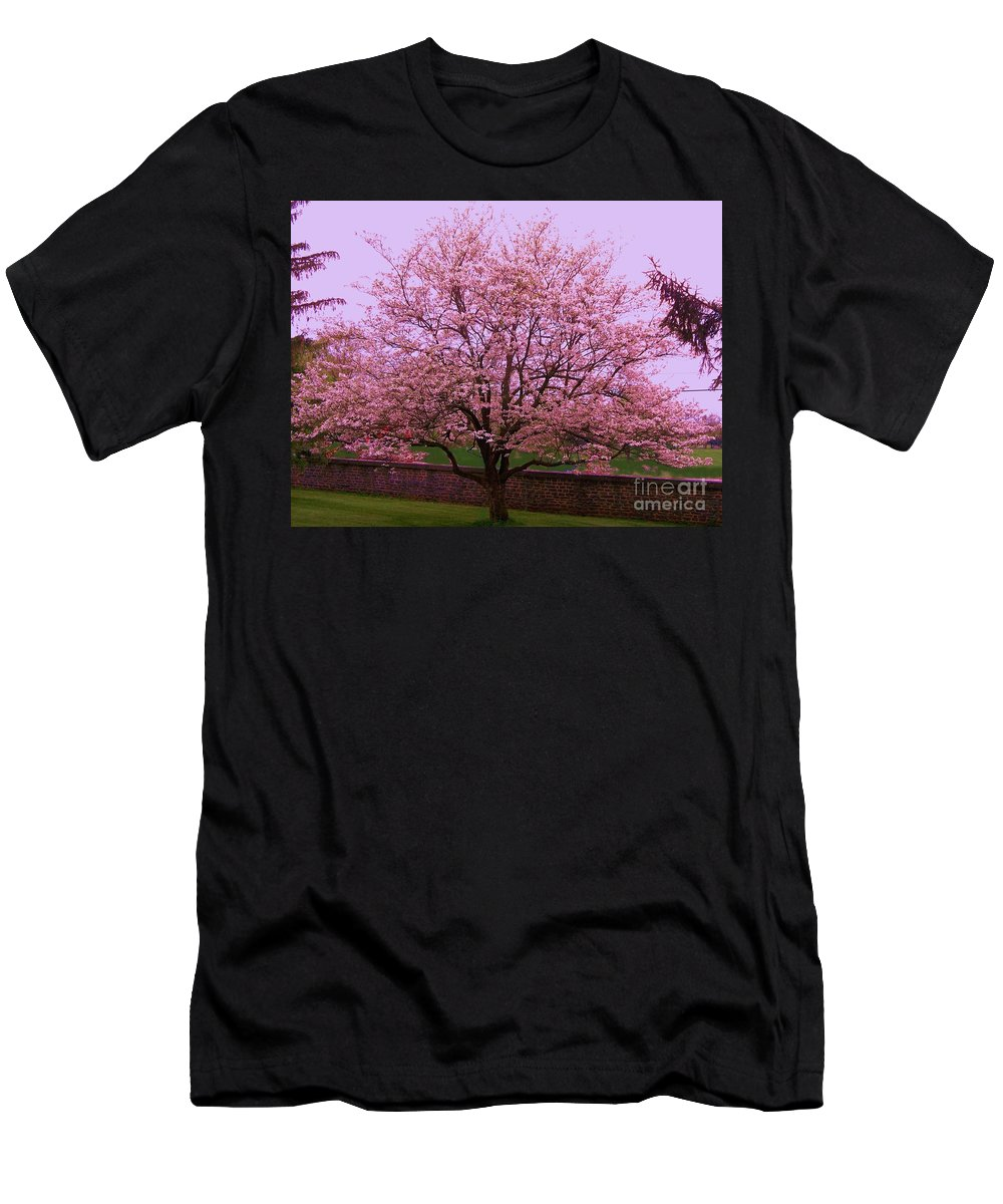 Blossoming Men's T-Shirt (Athletic Fit) featuring the painting Blossoming Almond Tree by Eric Schiabor