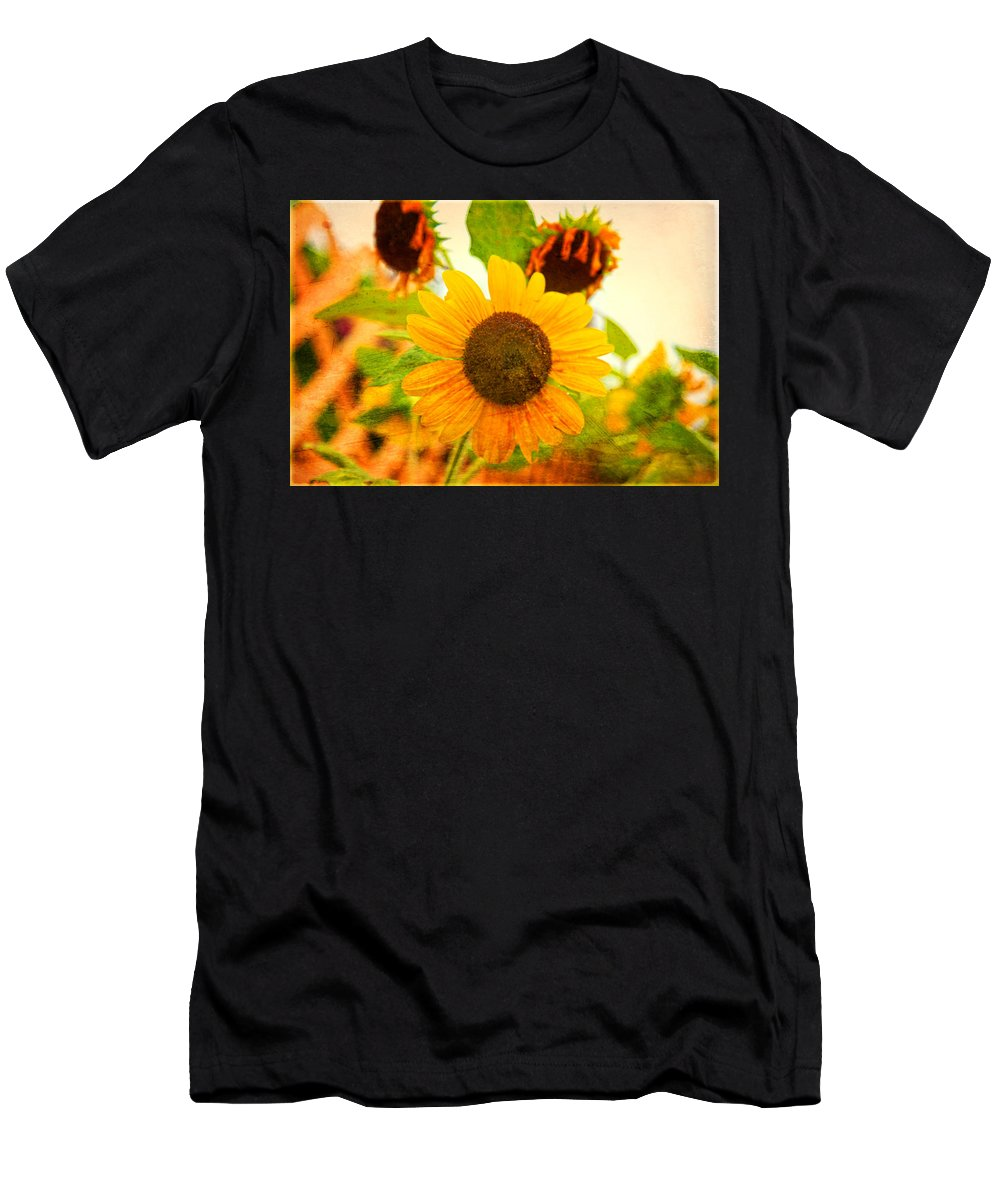 Sunflower Men's T-Shirt (Athletic Fit) featuring the photograph Blossoming Sunflower Beauty by Toni Hopper