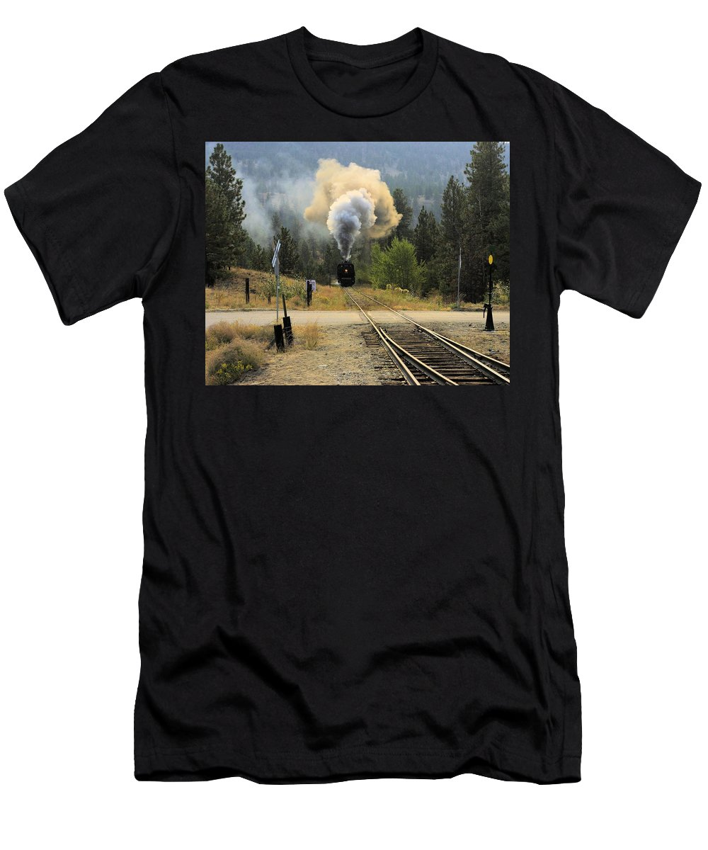 Train Men's T-Shirt (Athletic Fit) featuring the photograph Blowing Off Steam by John Greaves