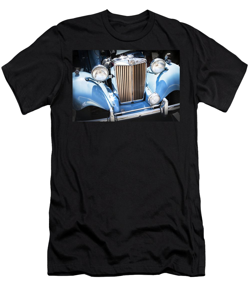 Vintage Car Men's T-Shirt (Athletic Fit) featuring the photograph Blue 1953 Mg by Theresa Tahara