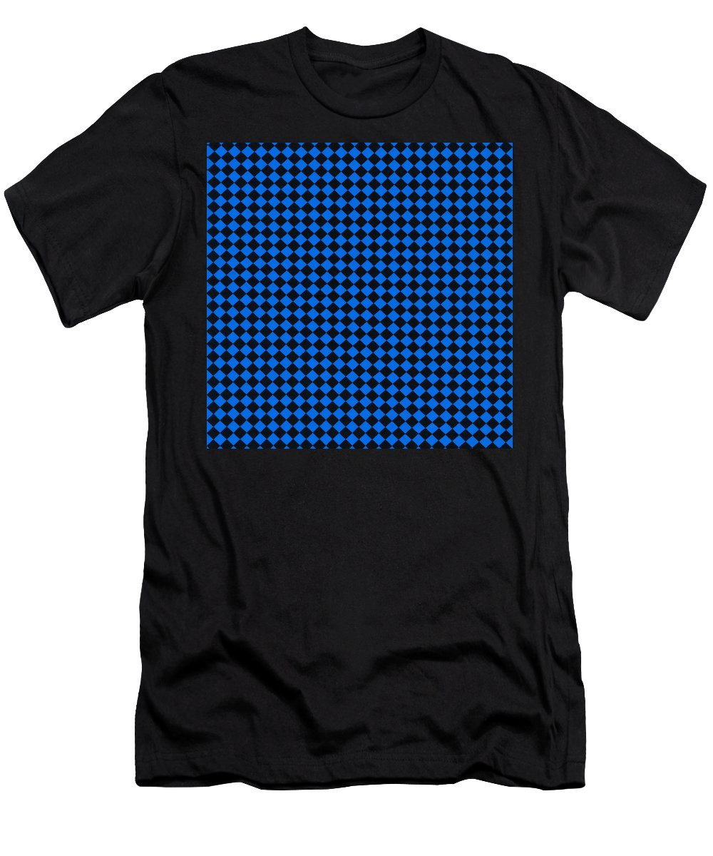 Pattern Men's T-Shirt (Athletic Fit) featuring the photograph Blue And Black Checkered Pattern Cloth Background by Keith Webber Jr