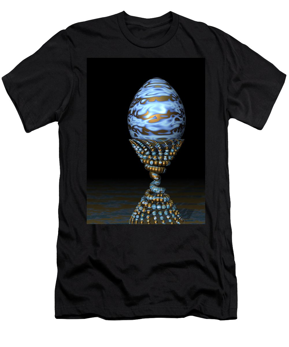Xenodream Men's T-Shirt (Athletic Fit) featuring the digital art Blue And Golden Egg by Hakon Soreide