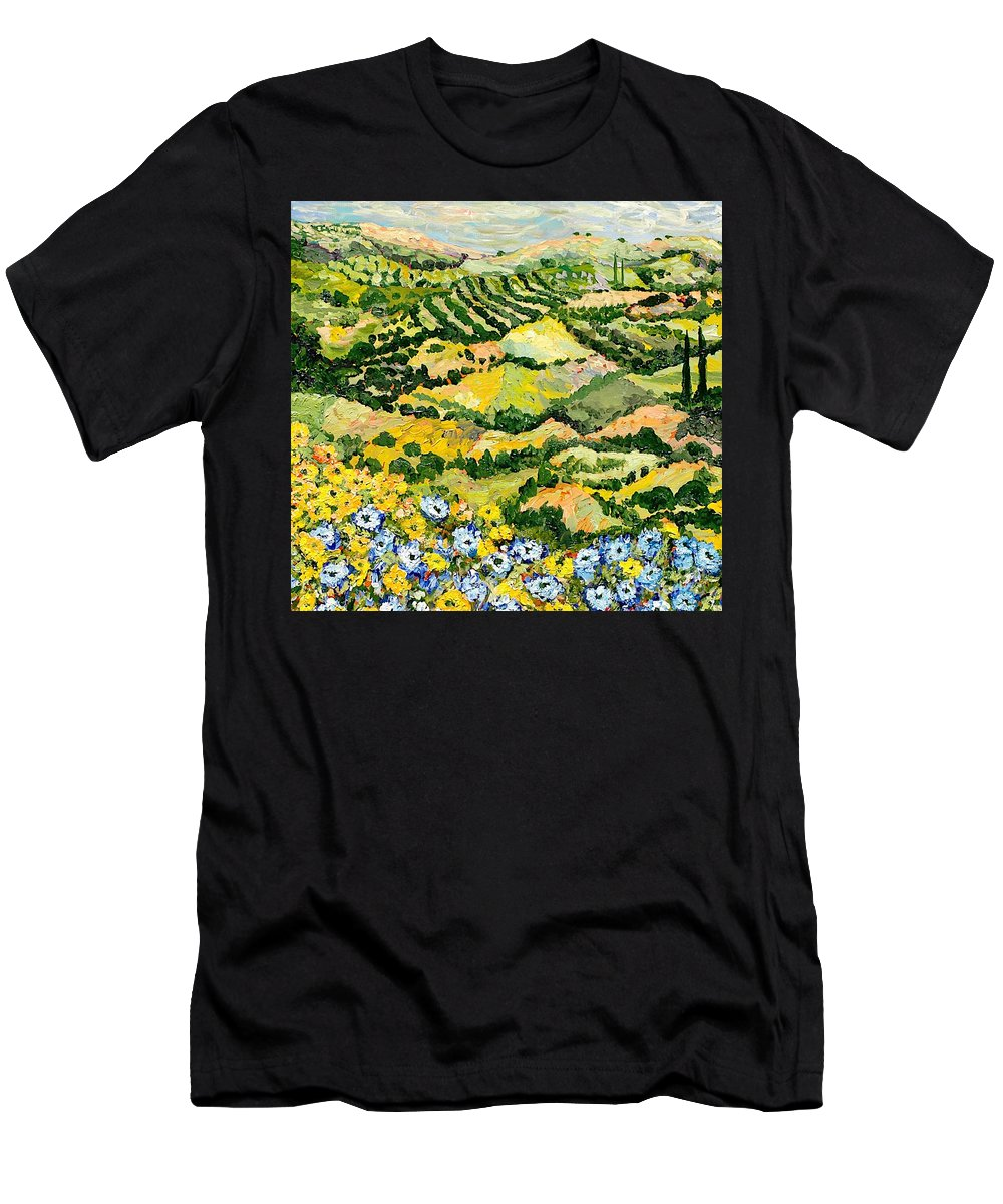 Landscape Men's T-Shirt (Athletic Fit) featuring the painting Blue And Yellow by Allan P Friedlander