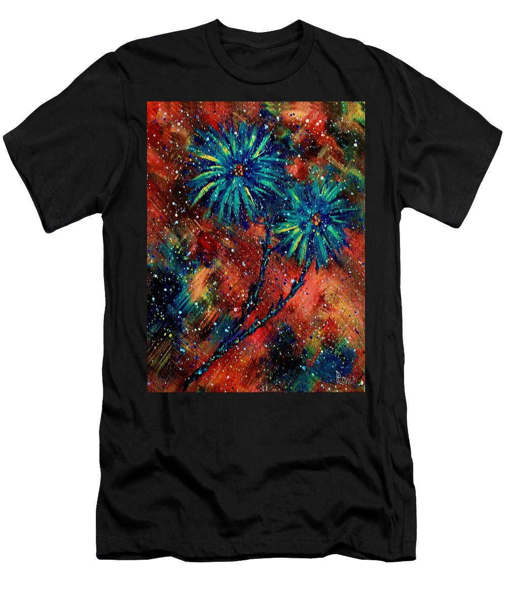 Flowers Men's T-Shirt (Athletic Fit) featuring the painting Blue Asters by Robin Monroe
