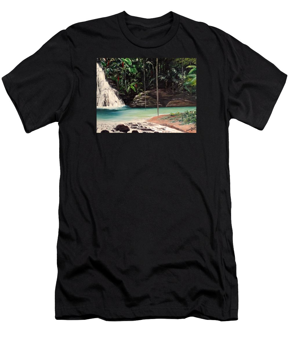 Tropical Waterfall Men's T-Shirt (Athletic Fit) featuring the painting Blue Basin by Karin Dawn Kelshall- Best