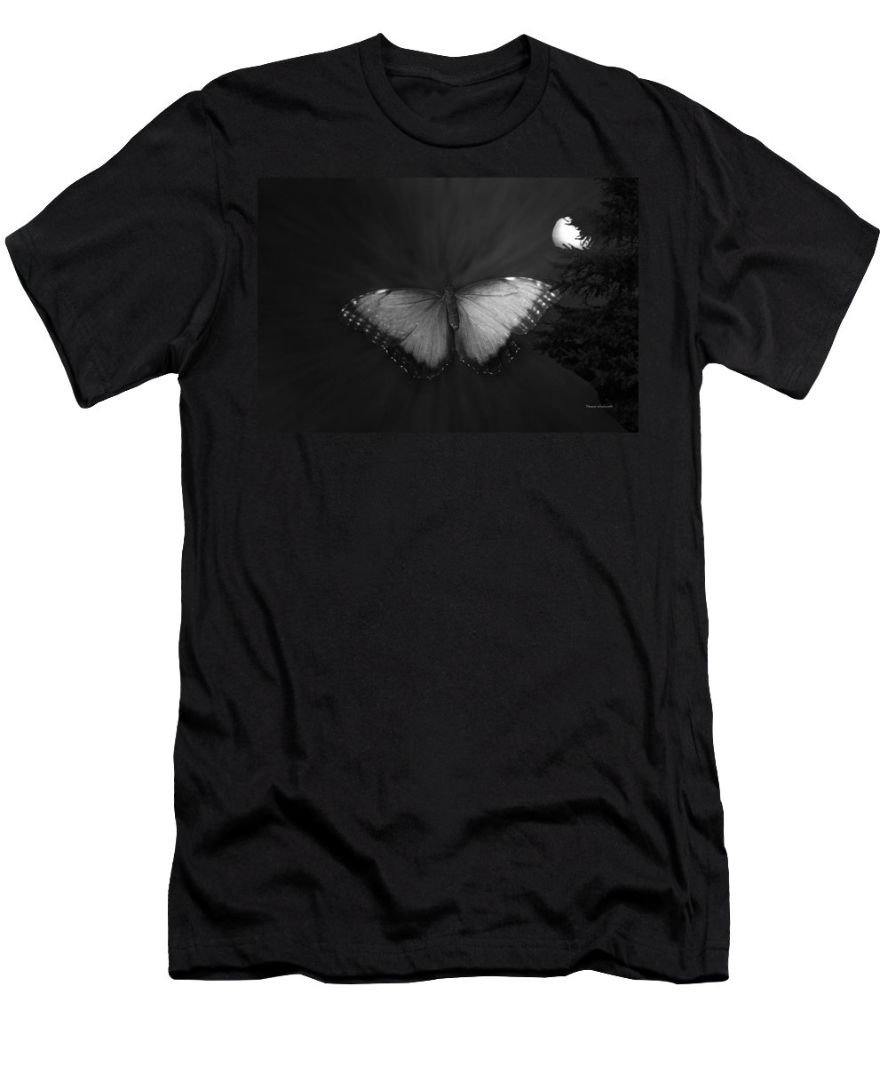 Insects Men's T-Shirt (Athletic Fit) featuring the photograph Blue Butterfly Ascending Bw by Thomas Woolworth