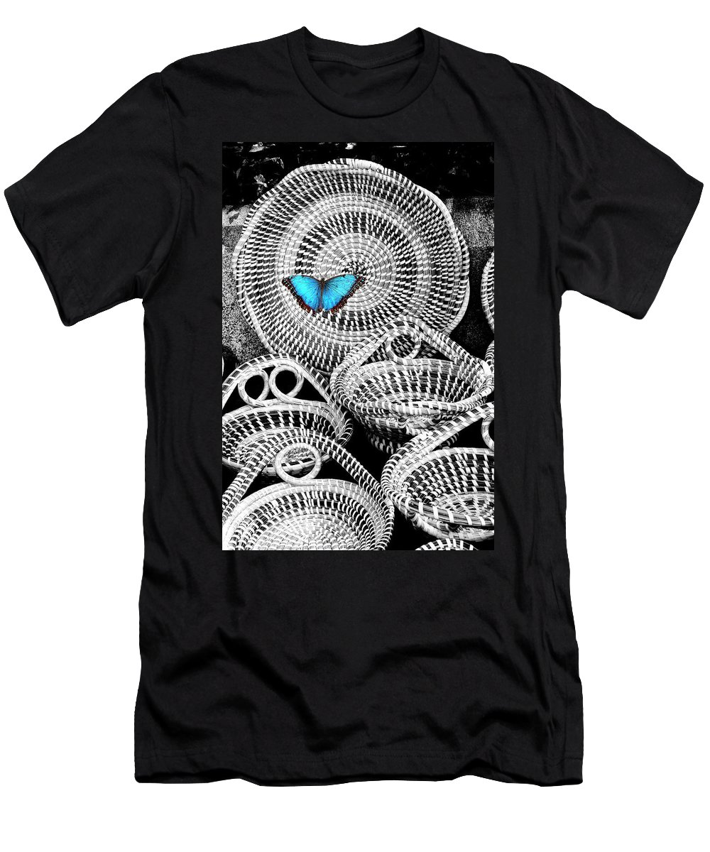 Charleston Men's T-Shirt (Athletic Fit) featuring the photograph Blue Butterfly Charleston by William Dey