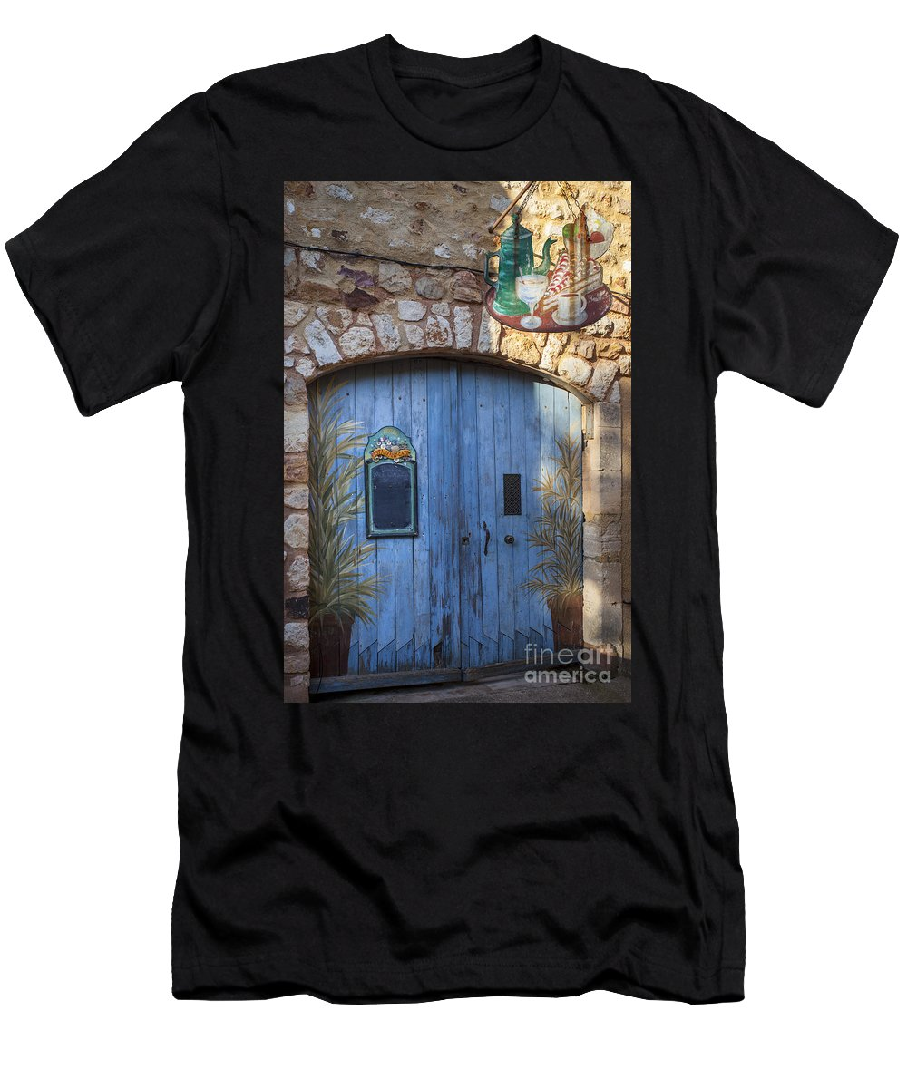 Blue Men's T-Shirt (Athletic Fit) featuring the photograph Blue Cafe Doors by Brian Jannsen