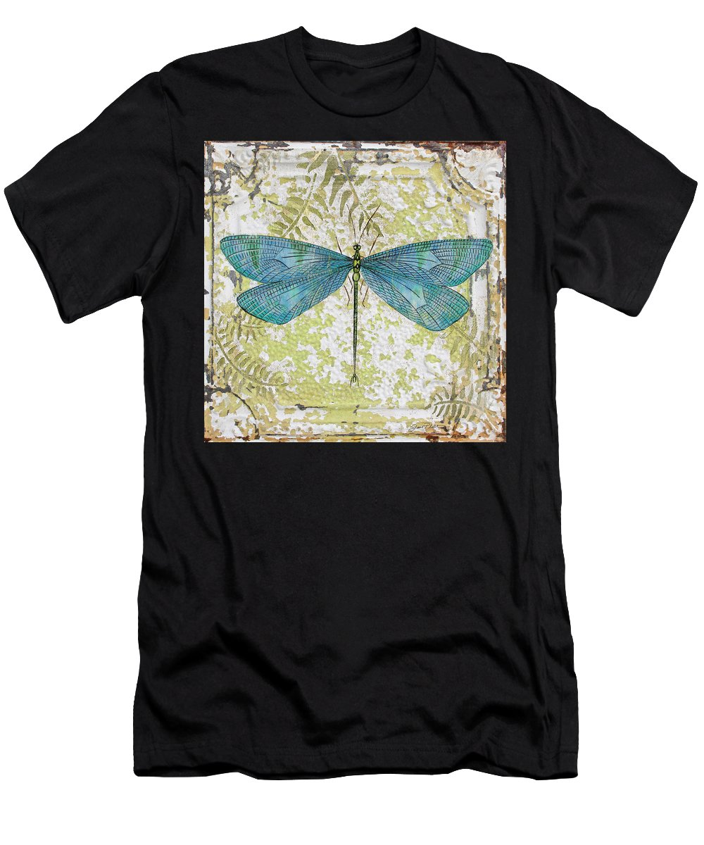 Acrylic Painting Men's T-Shirt (Athletic Fit) featuring the painting Blue Dragonfly On Vintage Tin by Jean Plout