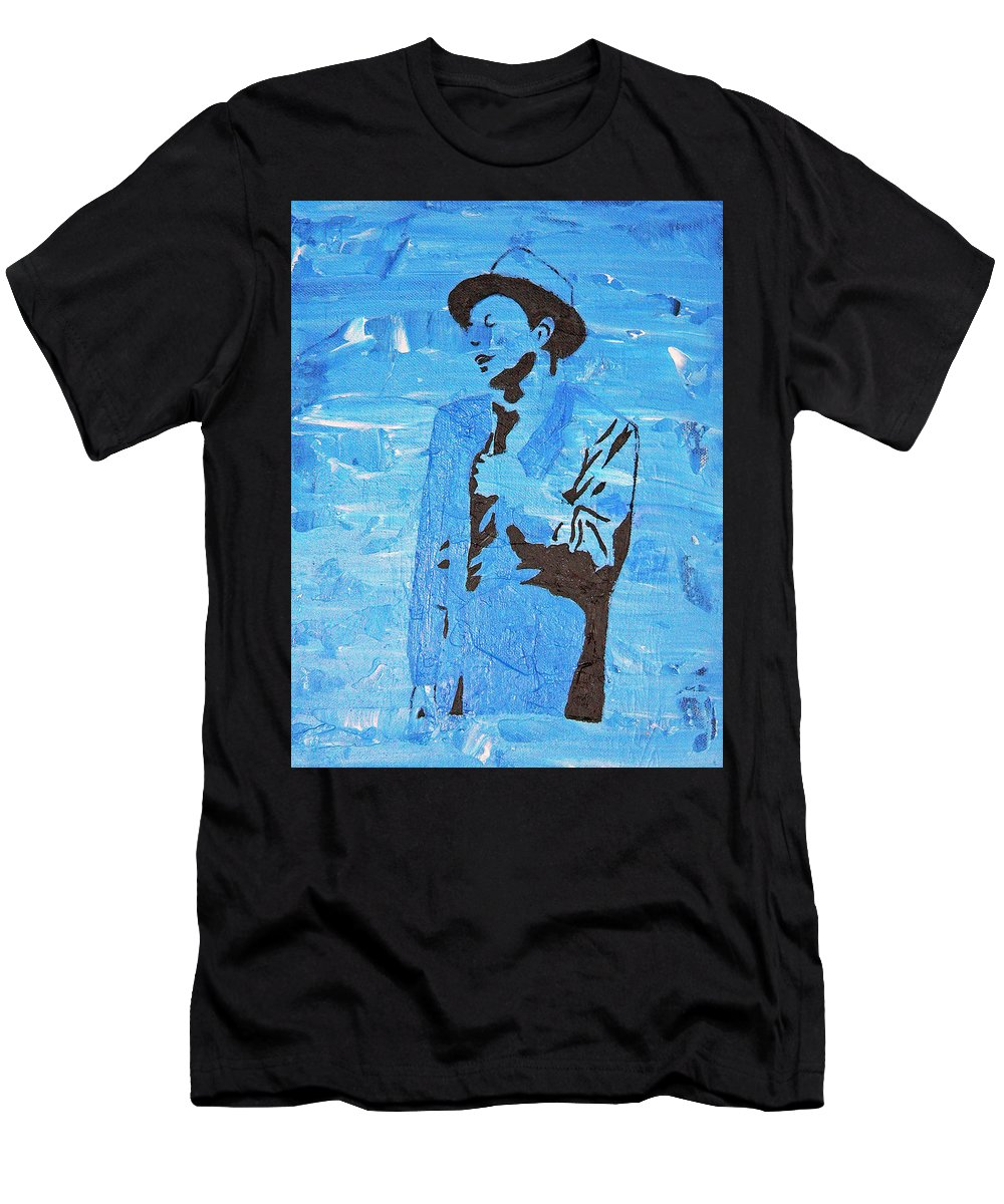 Frank Sinatra Men's T-Shirt (Athletic Fit) featuring the painting Blue Eyes by Josie Tokarski