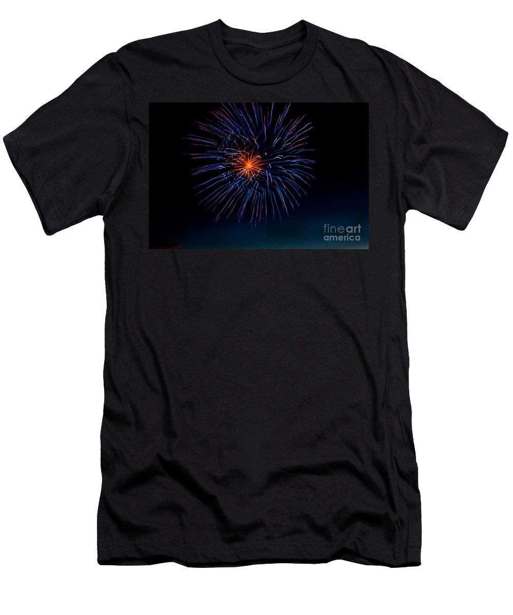 Fireworks Men's T-Shirt (Athletic Fit) featuring the photograph Blue Firework Flower by Robert Bales