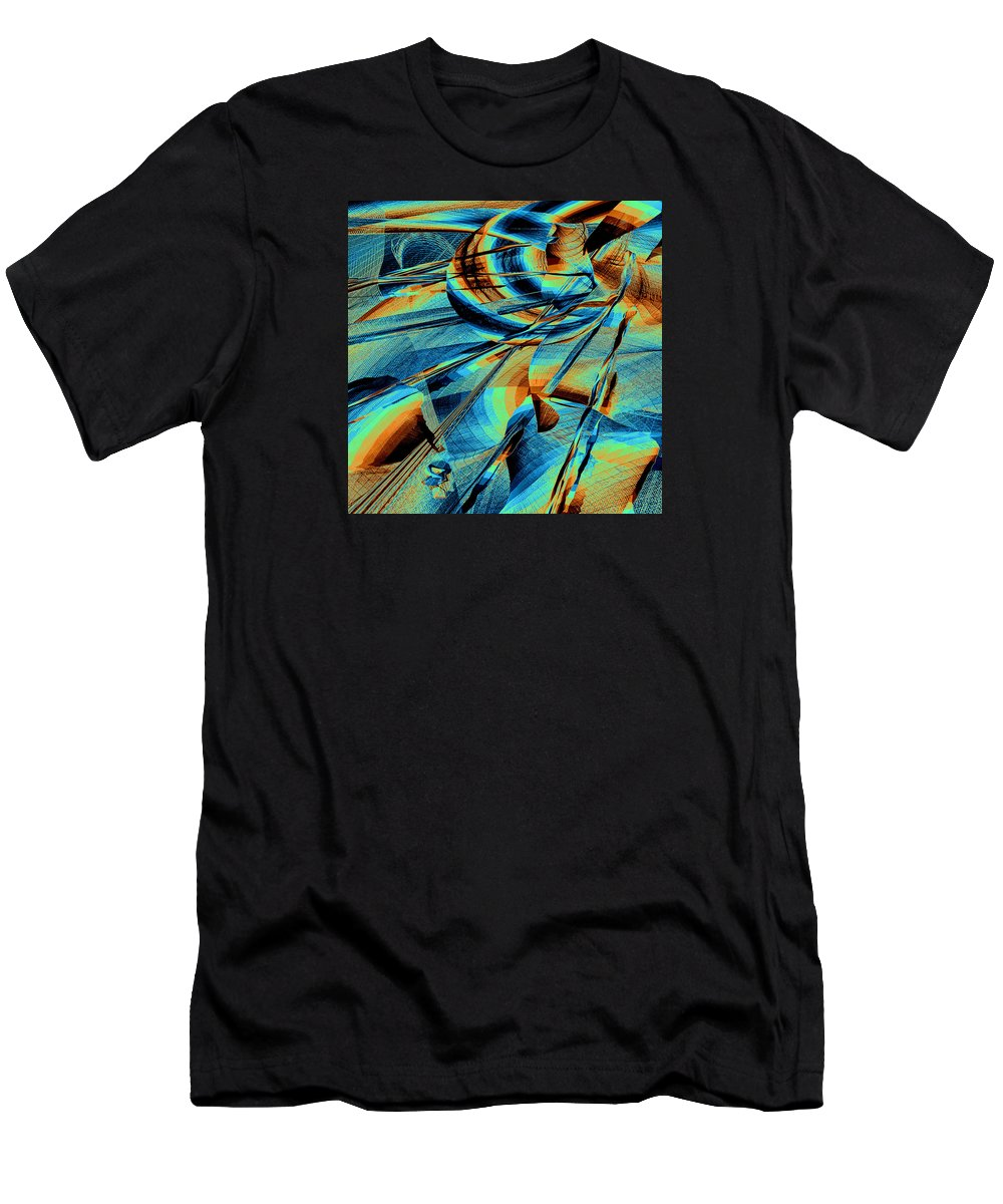 Mandala Men's T-Shirt (Athletic Fit) featuring the digital art Blue Flowpaper Solarized by Joy McKenzie