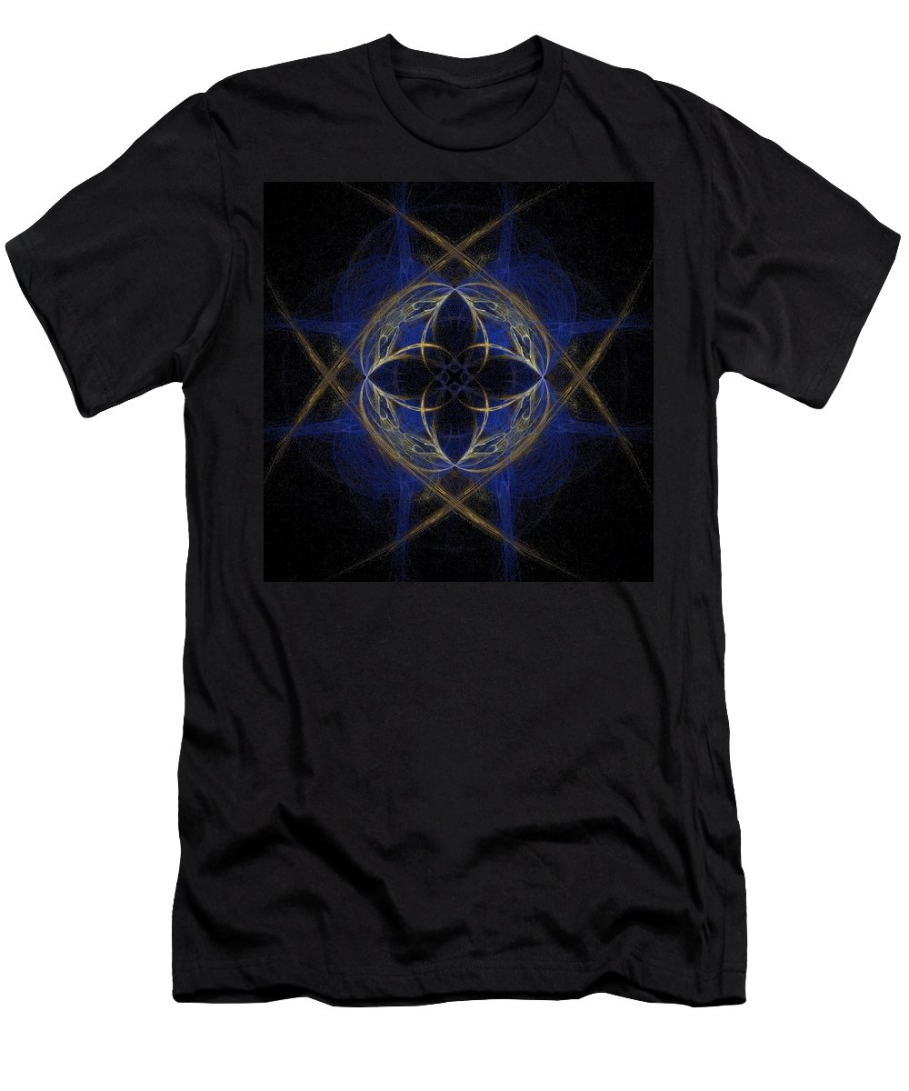 Blue Men's T-Shirt (Athletic Fit) featuring the painting Blue Fractal Cross by Bruce Nutting