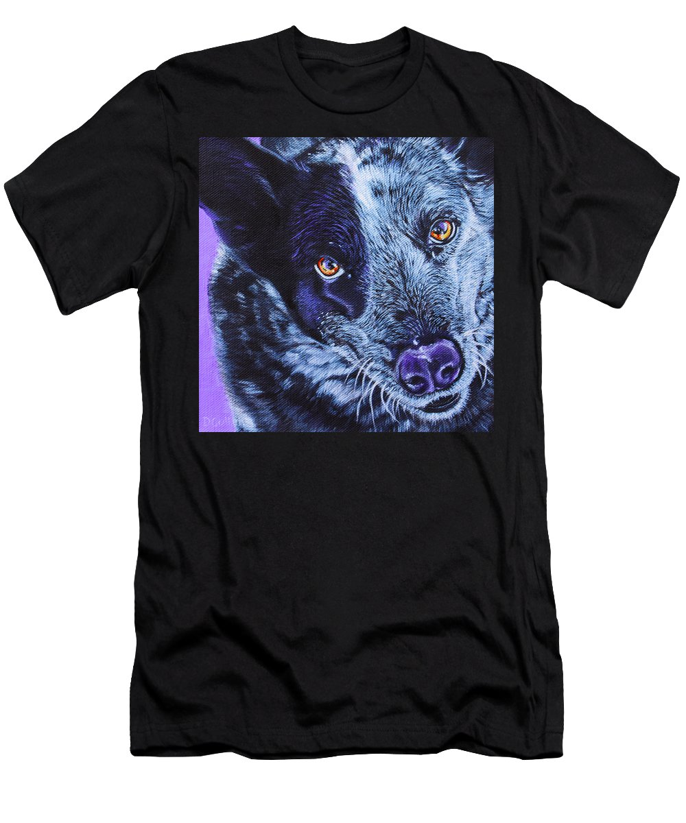 Blue Heeler Painting Men's T-Shirt (Athletic Fit) featuring the painting Blue Heeler by Deborah Cullen