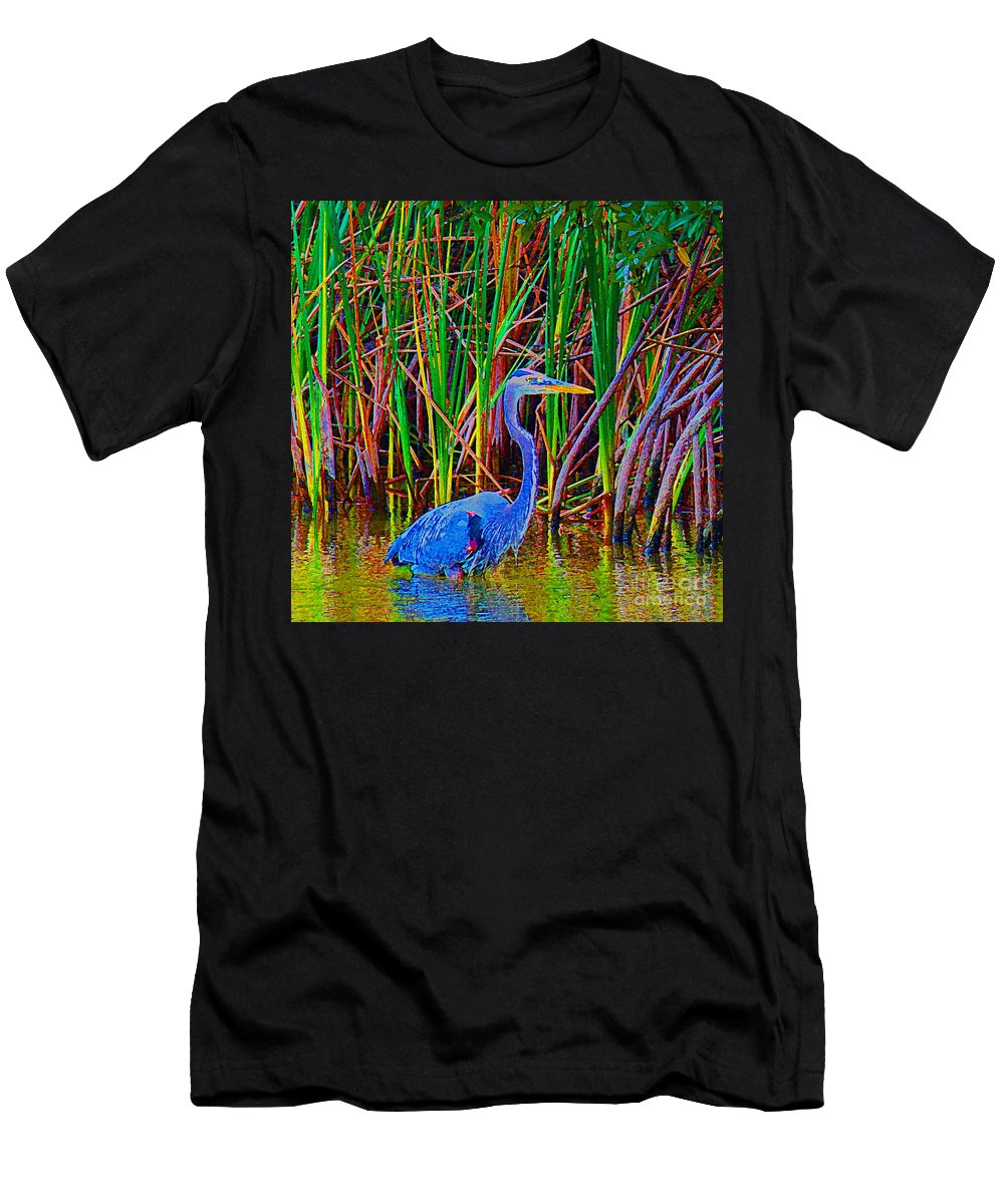 Blue Heron Men's T-Shirt (Athletic Fit) featuring the photograph Blue Heron by Christine Dekkers