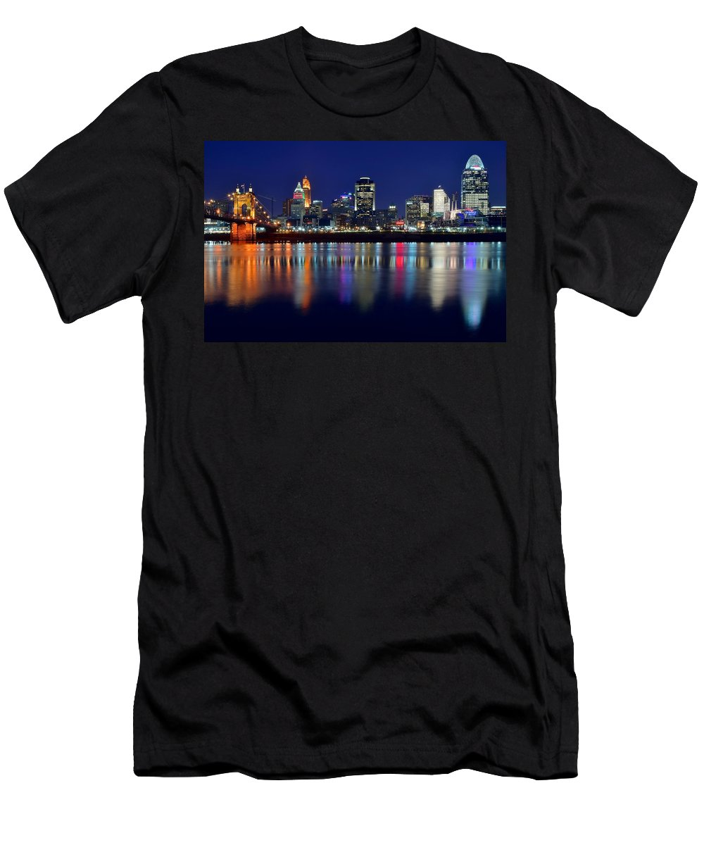 Cincinnati Men's T-Shirt (Athletic Fit) featuring the photograph Blue Hour In Cincinnati by Frozen in Time Fine Art Photography