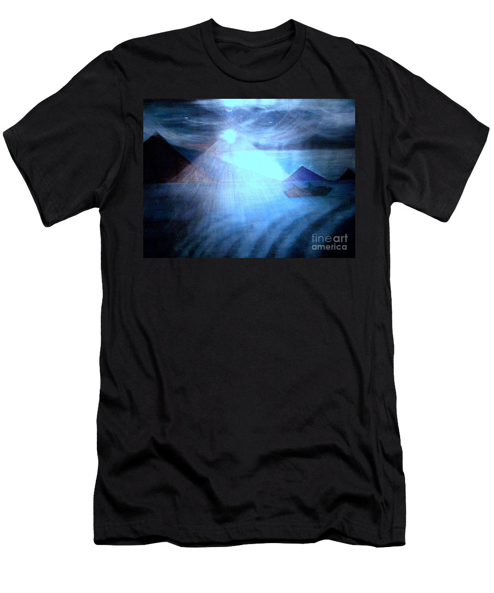 Moon Men's T-Shirt (Athletic Fit) featuring the painting Blue Moon Sailing by Kumiko Mayer