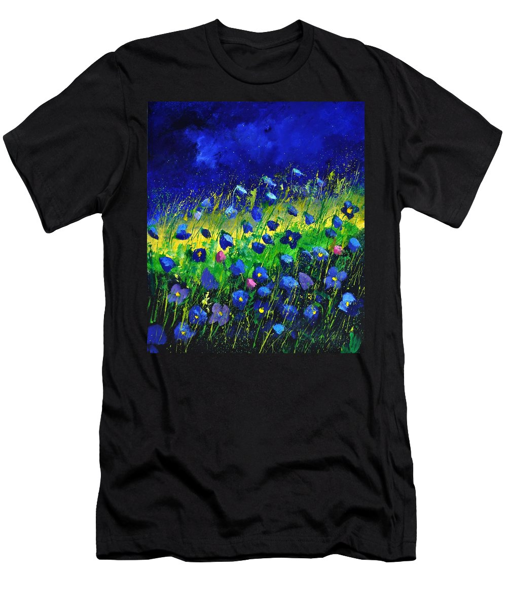 Landscape T-Shirt featuring the painting Blue poppies 674190 by Pol Ledent