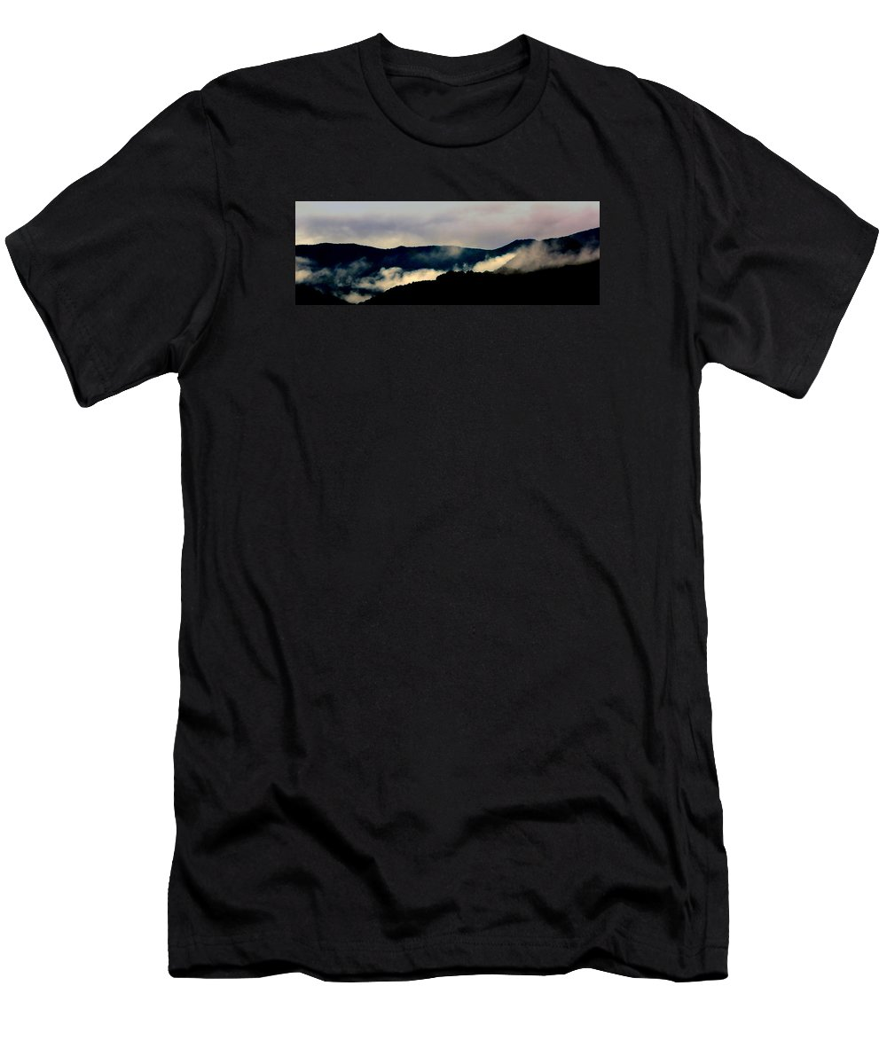 Mountains Men's T-Shirt (Athletic Fit) featuring the photograph Blue Ridge Parkway Abstract by Kathy Barney