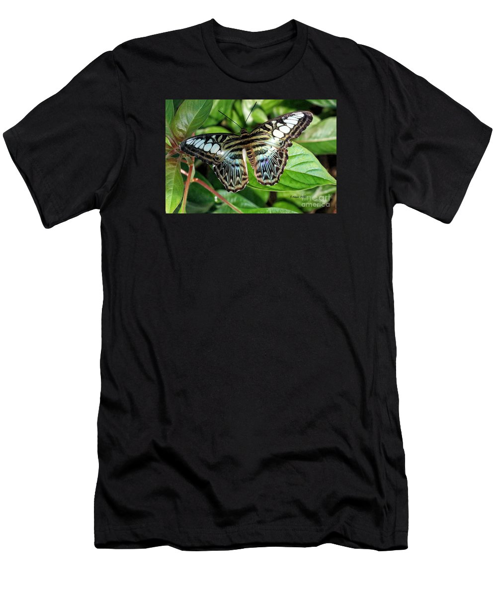 Butterfly Men's T-Shirt (Athletic Fit) featuring the photograph Blue Sea Butterfly by Shari Nees