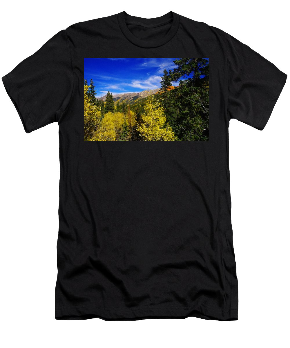 Blue Sky Men's T-Shirt (Athletic Fit) featuring the photograph Blue Skies In Colorado by Jeff Swan
