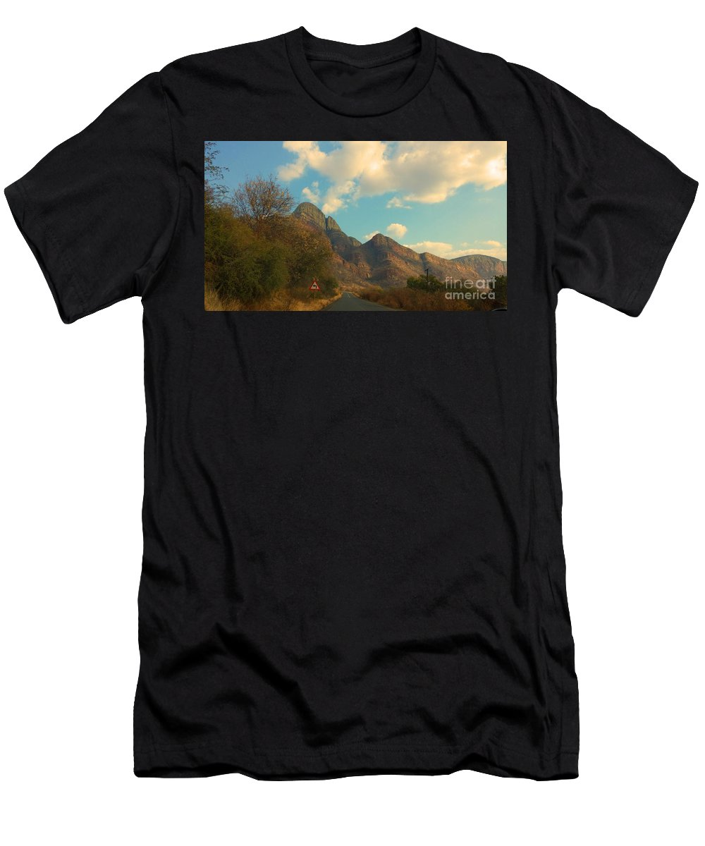 Blue Men's T-Shirt (Athletic Fit) featuring the photograph Blue Sky And Mountains by Lisa Byrne