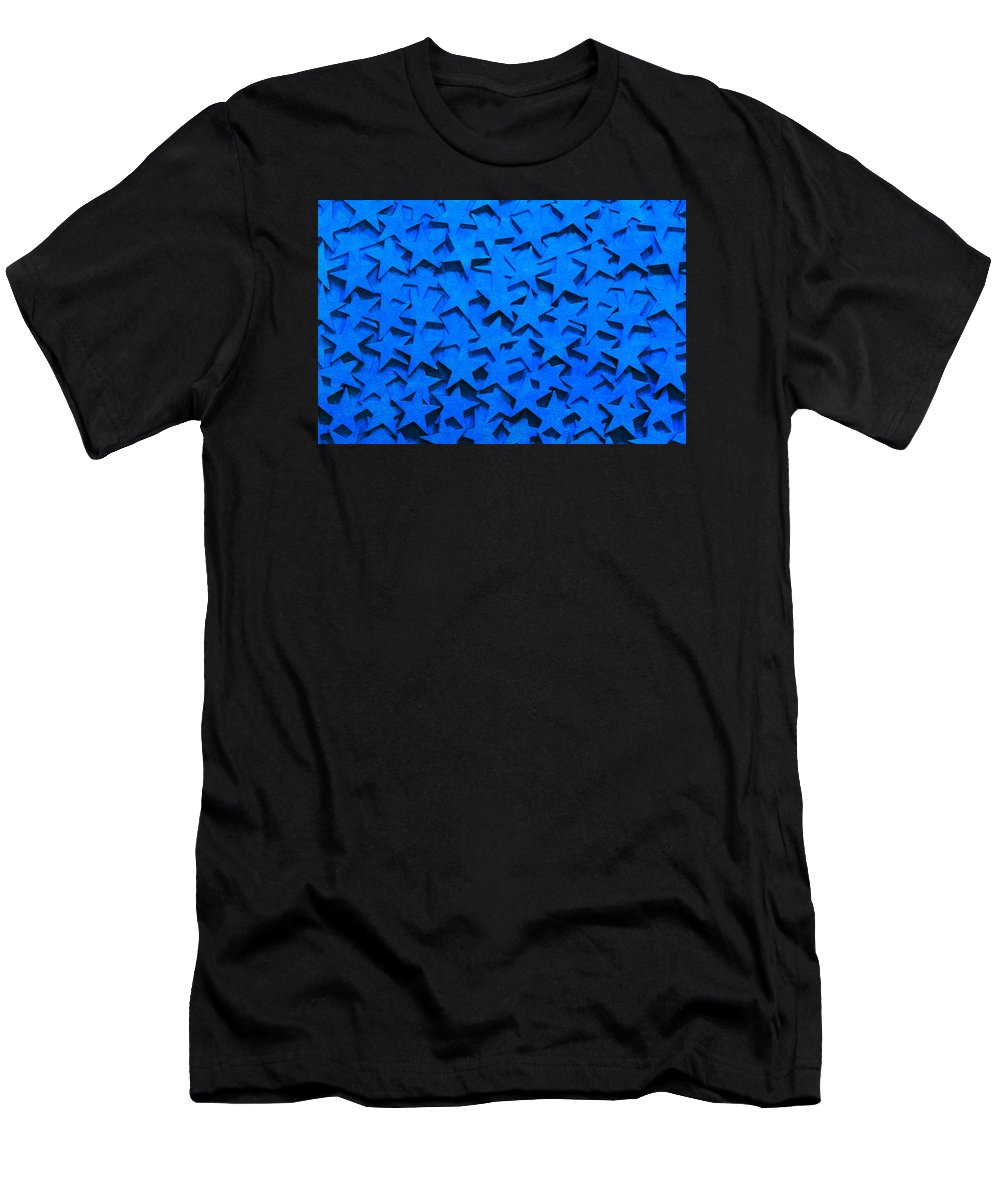 Star Men's T-Shirt (Athletic Fit) featuring the photograph Blue Stars by Art Block Collections