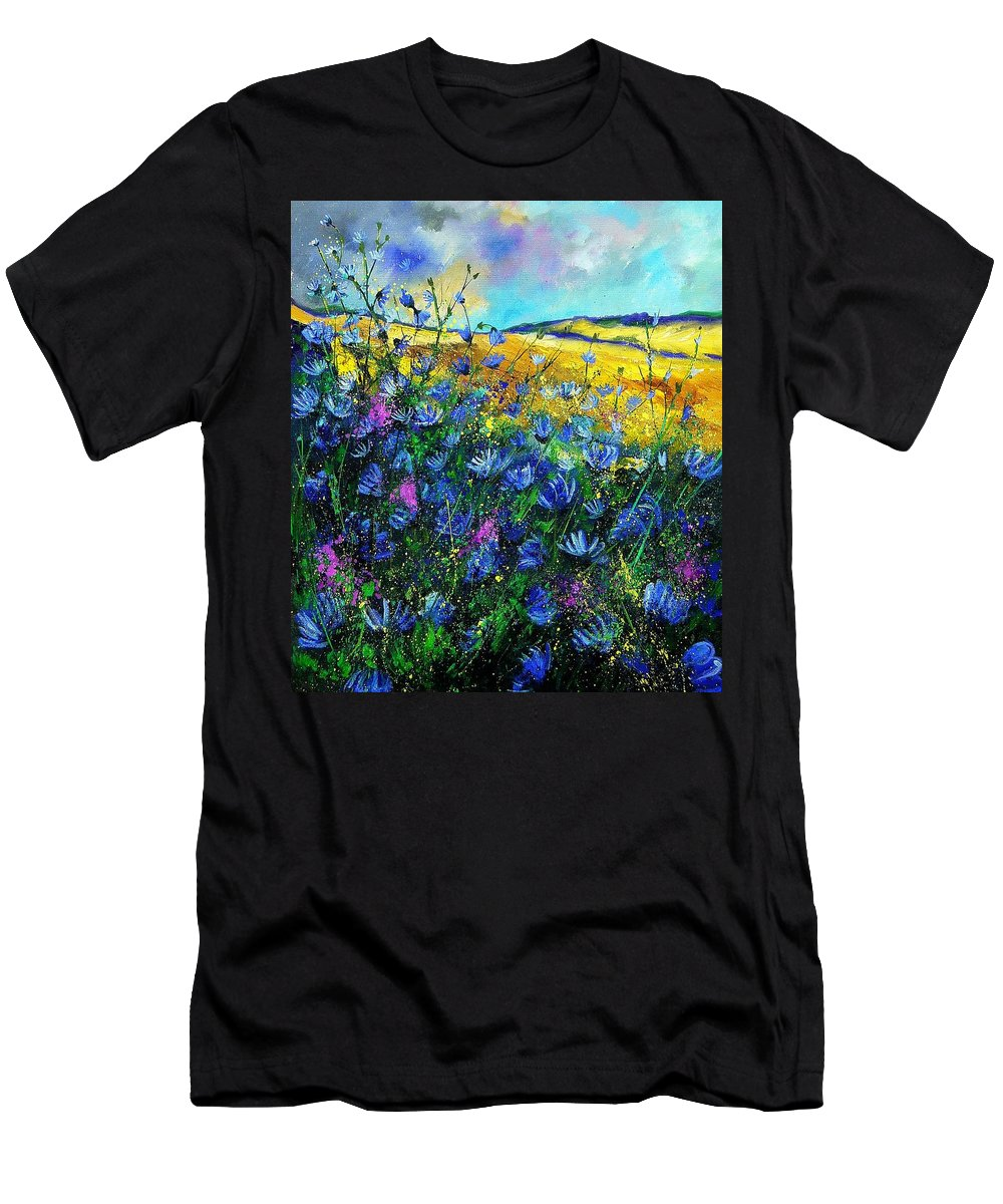 Flowers Men's T-Shirt (Athletic Fit) featuring the painting Blue Wild Chicorees by Pol Ledent