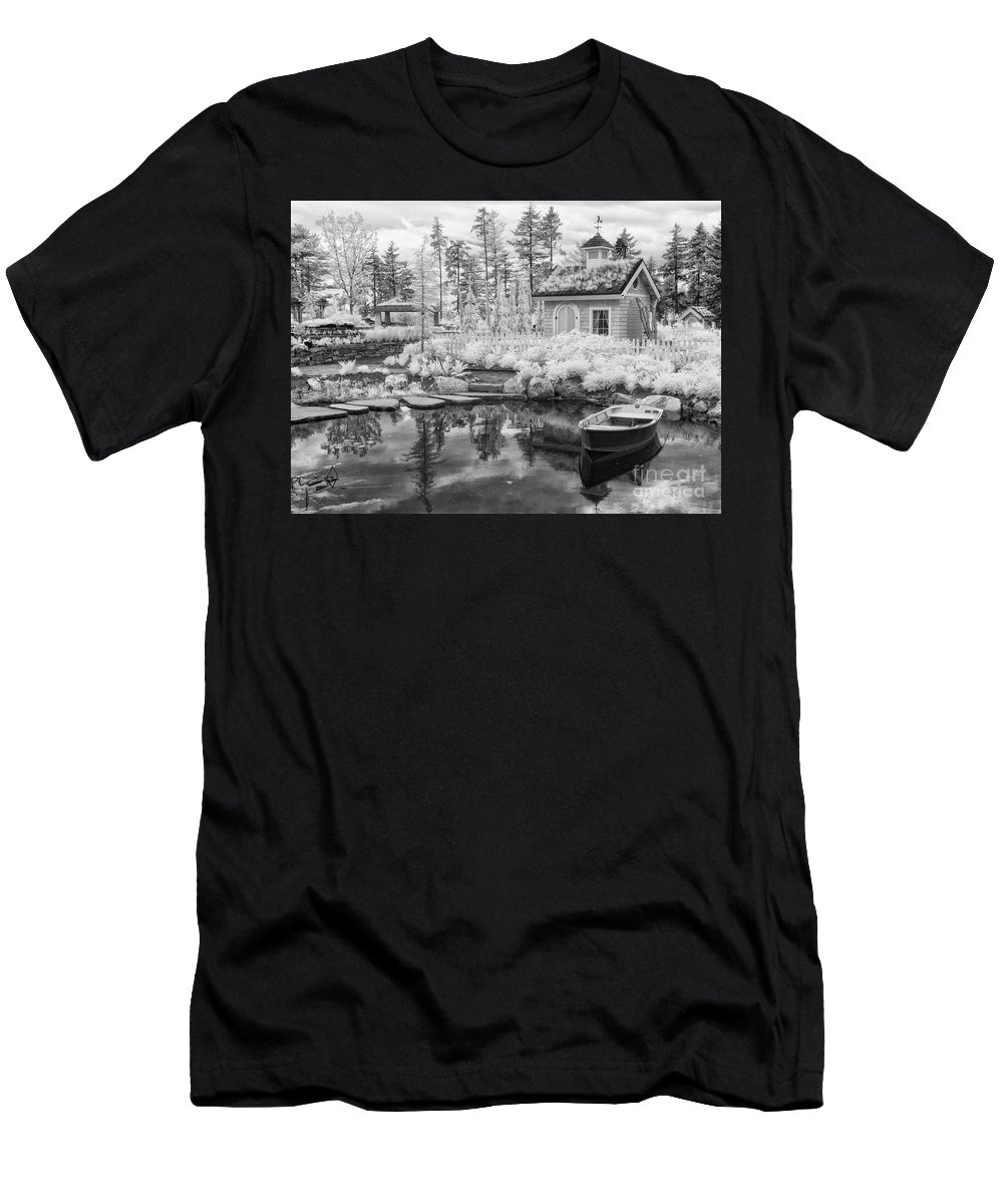 Rowboat Men's T-Shirt (Athletic Fit) featuring the photograph Blueberry Pond by Claudia Kuhn