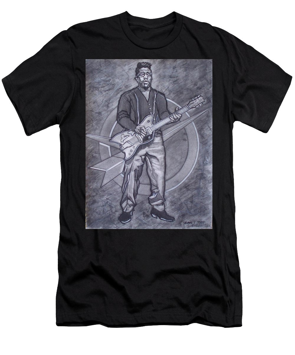 Texas;charcoal;king Of Rock;rock And Roll;music;1950s;blues;musician;funk;electric Guitar;marble;soul Men's T-Shirt (Athletic Fit) featuring the drawing Bo Diddley - Have Guitar Will Travel by Sean Connolly