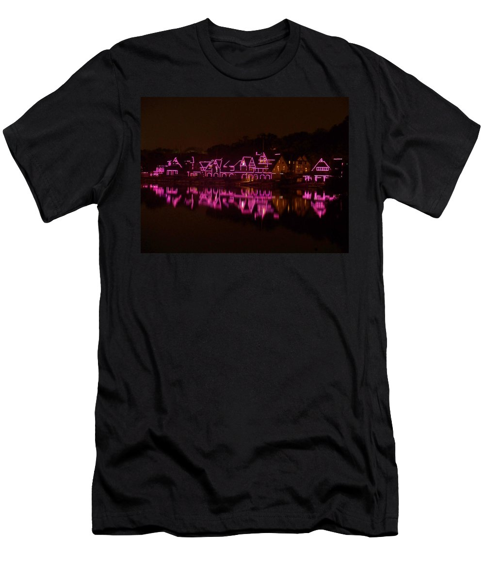 Philly Men's T-Shirt (Athletic Fit) featuring the photograph Boathouse Row In Pink by Ed Sweeney