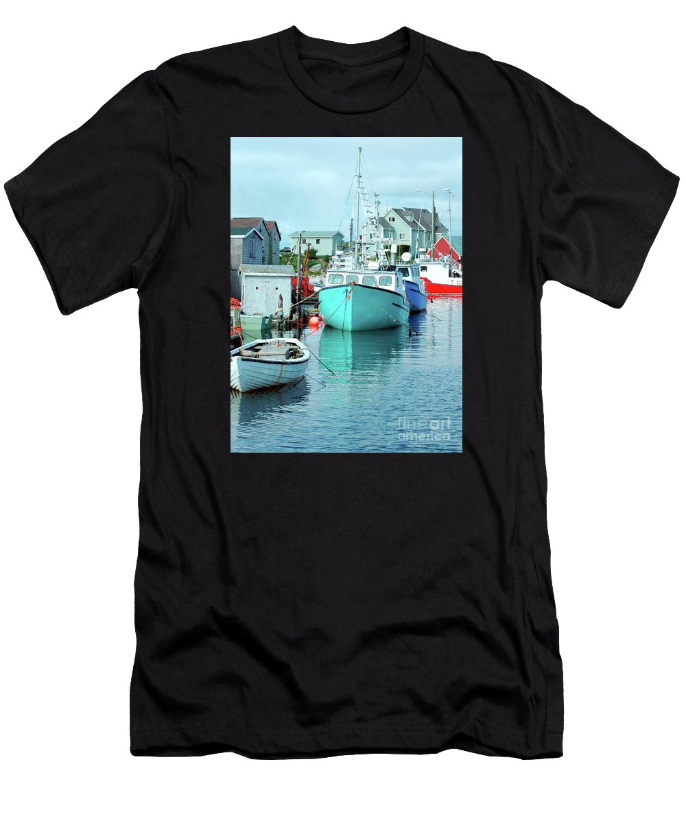 Boat Men's T-Shirt (Athletic Fit) featuring the photograph Boating In The Village by Kathleen Struckle