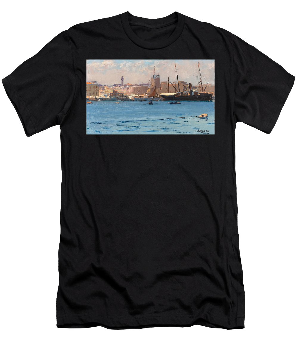 Fausto Zonaro Men's T-Shirt (Athletic Fit) featuring the painting Boats In A Port by Fausto Zonaro