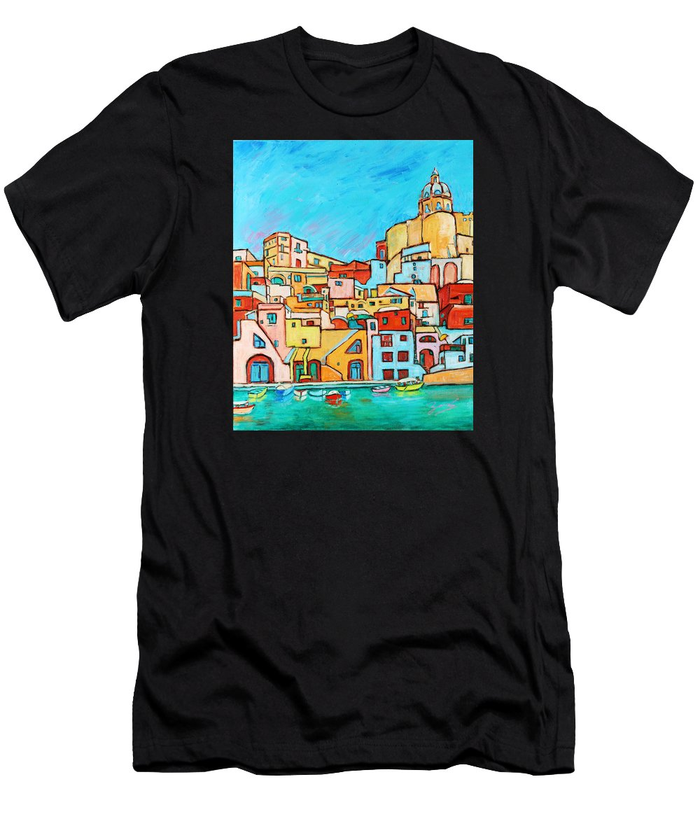 Campania Men's T-Shirt (Athletic Fit) featuring the painting Boats In Front Of The Buildings Vii by Xueling Zou