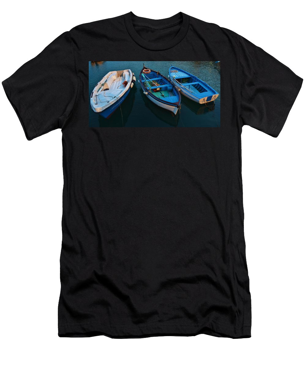 Blue Men's T-Shirt (Athletic Fit) featuring the photograph Boats Trio by Dany Lison