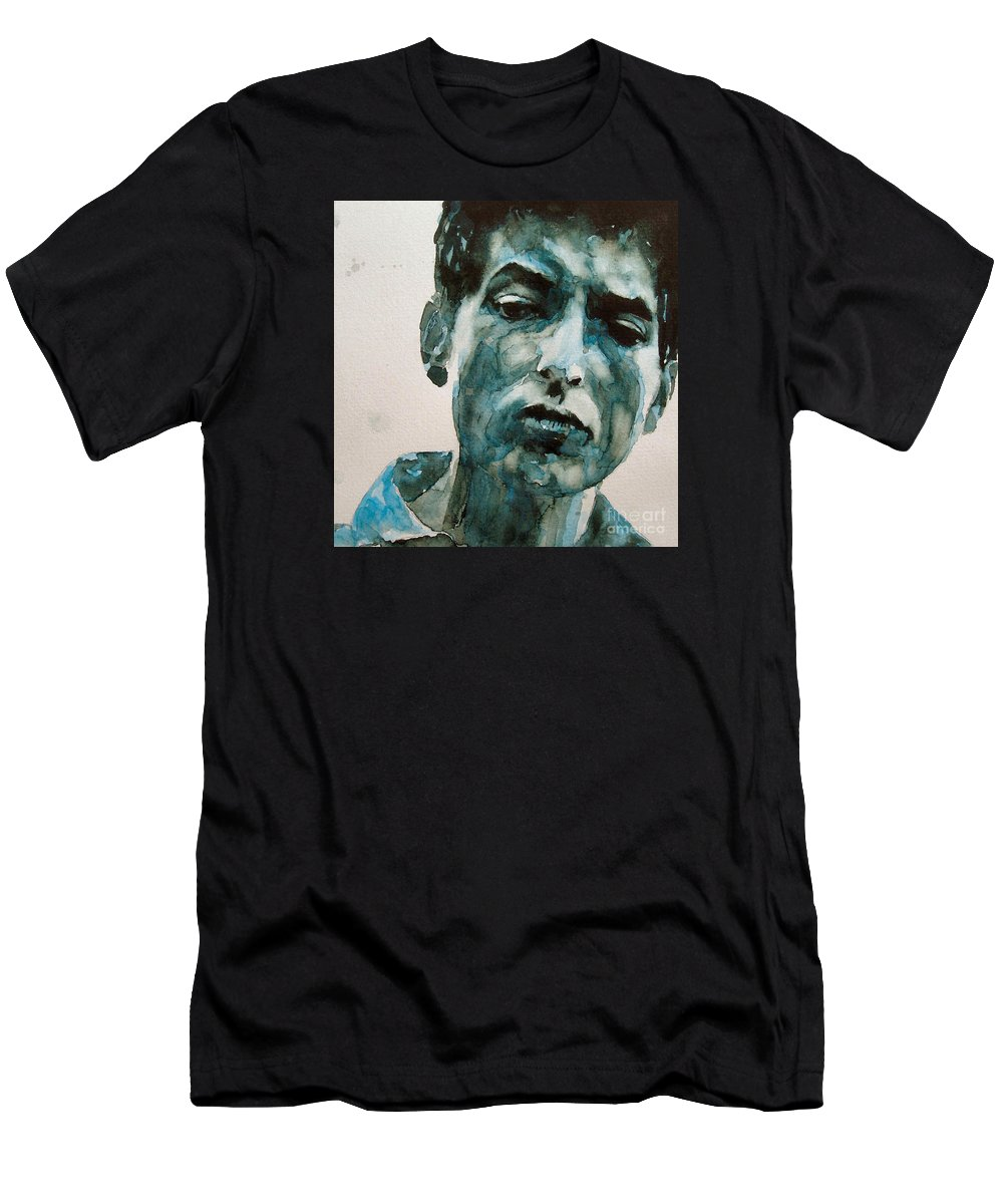 Bob Dylan Men's T-Shirt (Athletic Fit) featuring the painting Bob Dylan by Paul Lovering