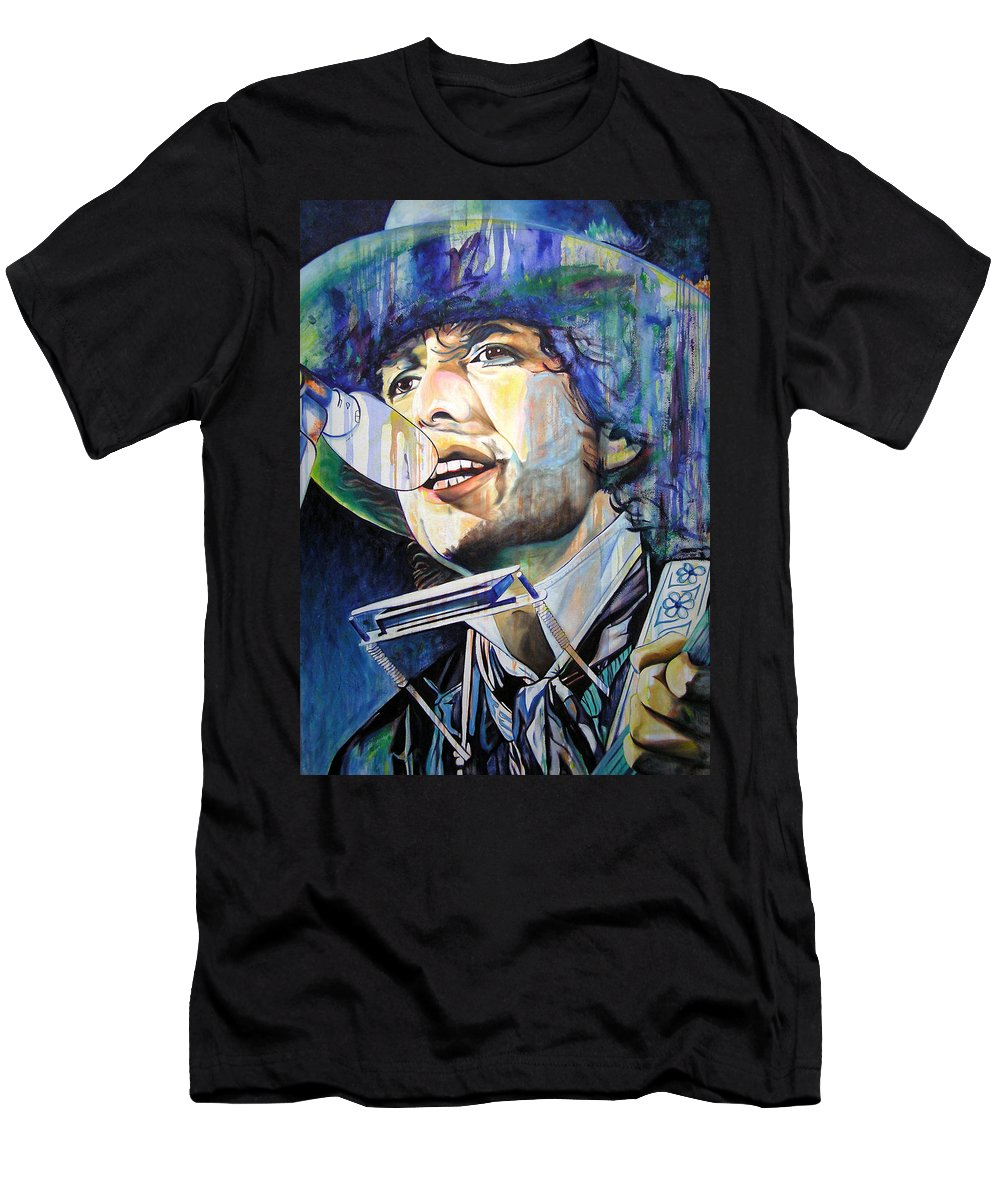 Bob Dylan Men's T-Shirt (Athletic Fit) featuring the painting Bob Dylan Tangled Up In Blue by Joshua Morton