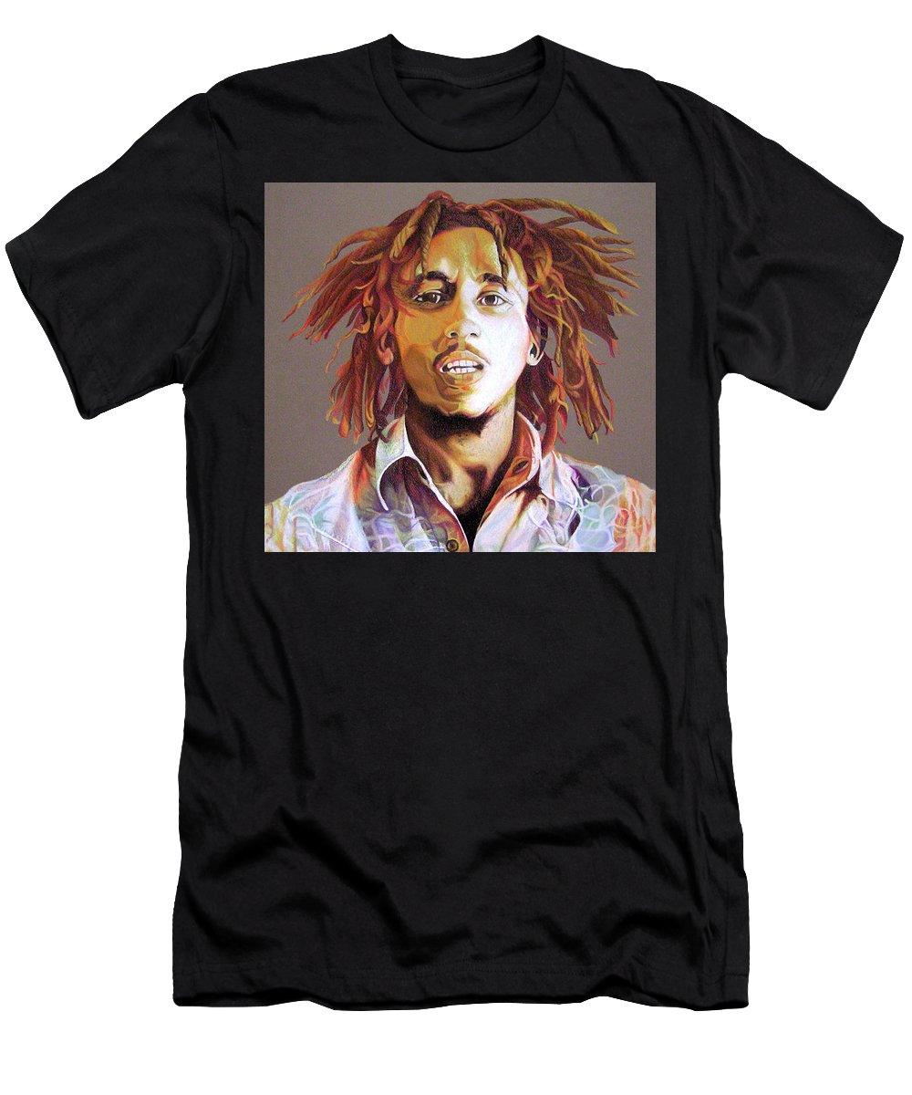 Bob Marley Men's T-Shirt (Athletic Fit) featuring the drawing Bob Marley Earth Tones by Joshua Morton