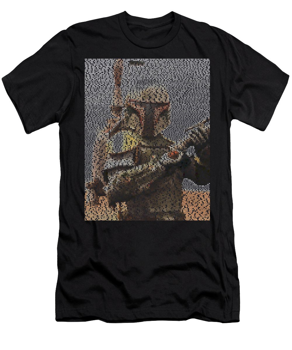 Star Wars Men's T-Shirt (Athletic Fit) featuring the digital art Boba Fett Quotes Mosaic by Paul Van Scott