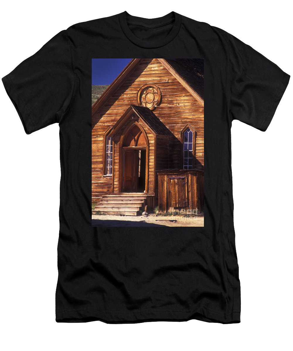 Bodie Men's T-Shirt (Athletic Fit) featuring the photograph Bodie Methodist Church by Paul W Faust - Impressions of Light
