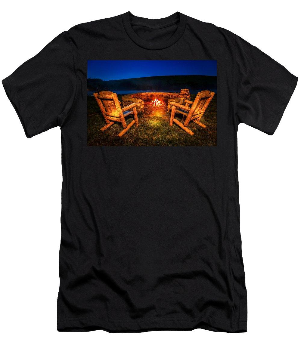 Bonfire Men's T-Shirt (Athletic Fit) featuring the photograph Bonfire by Alexey Stiop