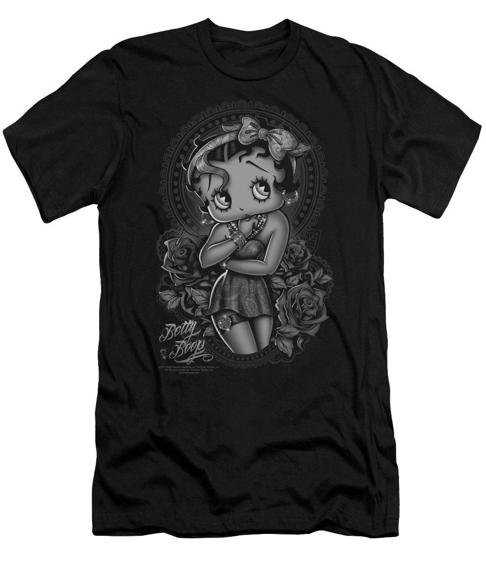 Betty Boop T-Shirt featuring the digital art Boop - Fashion Roses by Brand A