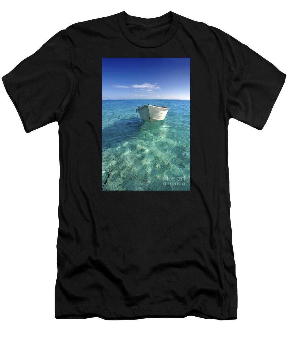 Afternoon Men's T-Shirt (Athletic Fit) featuring the photograph Bora Bora White Boat by M Swiet Productions