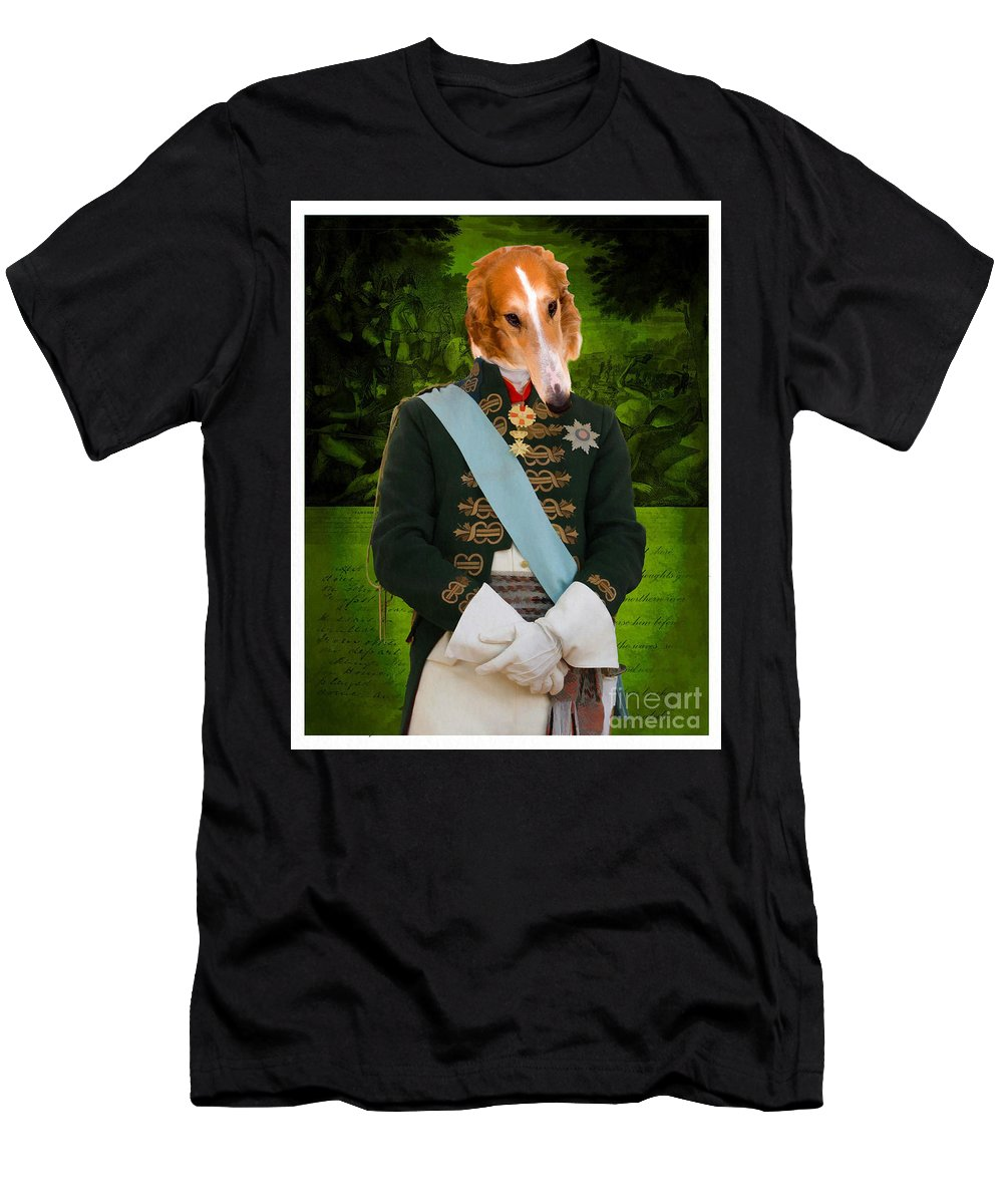 Men's T-Shirt (Athletic Fit) featuring the painting Borzoi by Sandra Sij