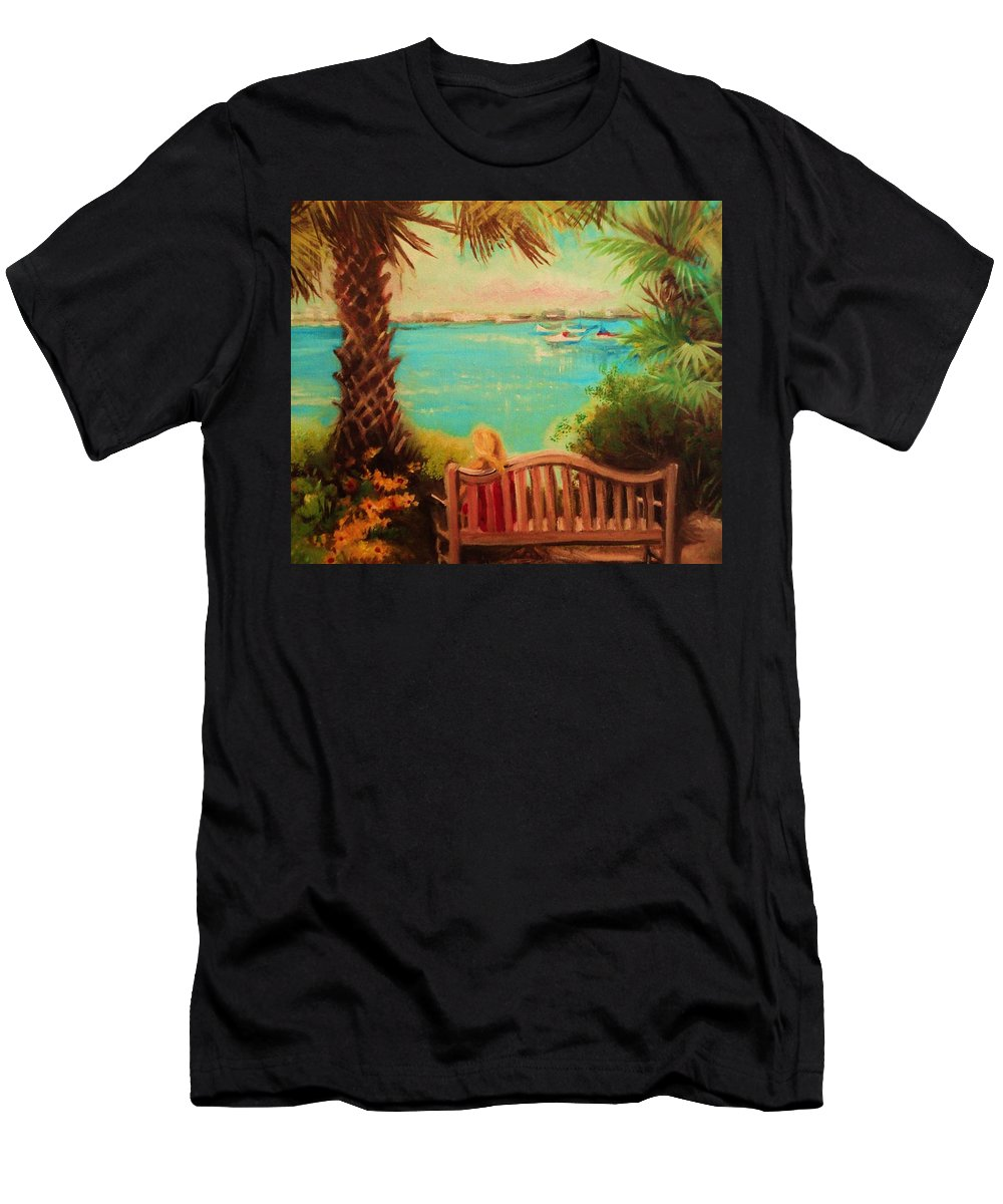 Palm View From The Sarasota Botanical Garden Men's T-Shirt (Athletic Fit) featuring the painting Botanical View by Yolanda Rodriguez