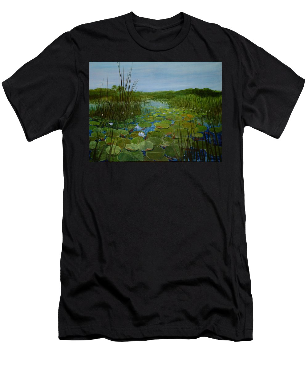 South Africa Men's T-Shirt (Athletic Fit) featuring the painting Botswana Lagoon by Maryann Boysen