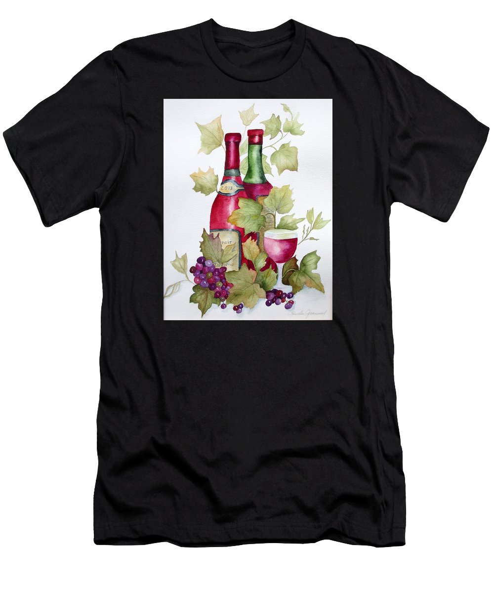 Wine Men's T-Shirt (Athletic Fit) featuring the painting Bottled In 2013 by Rosalea Greenwood