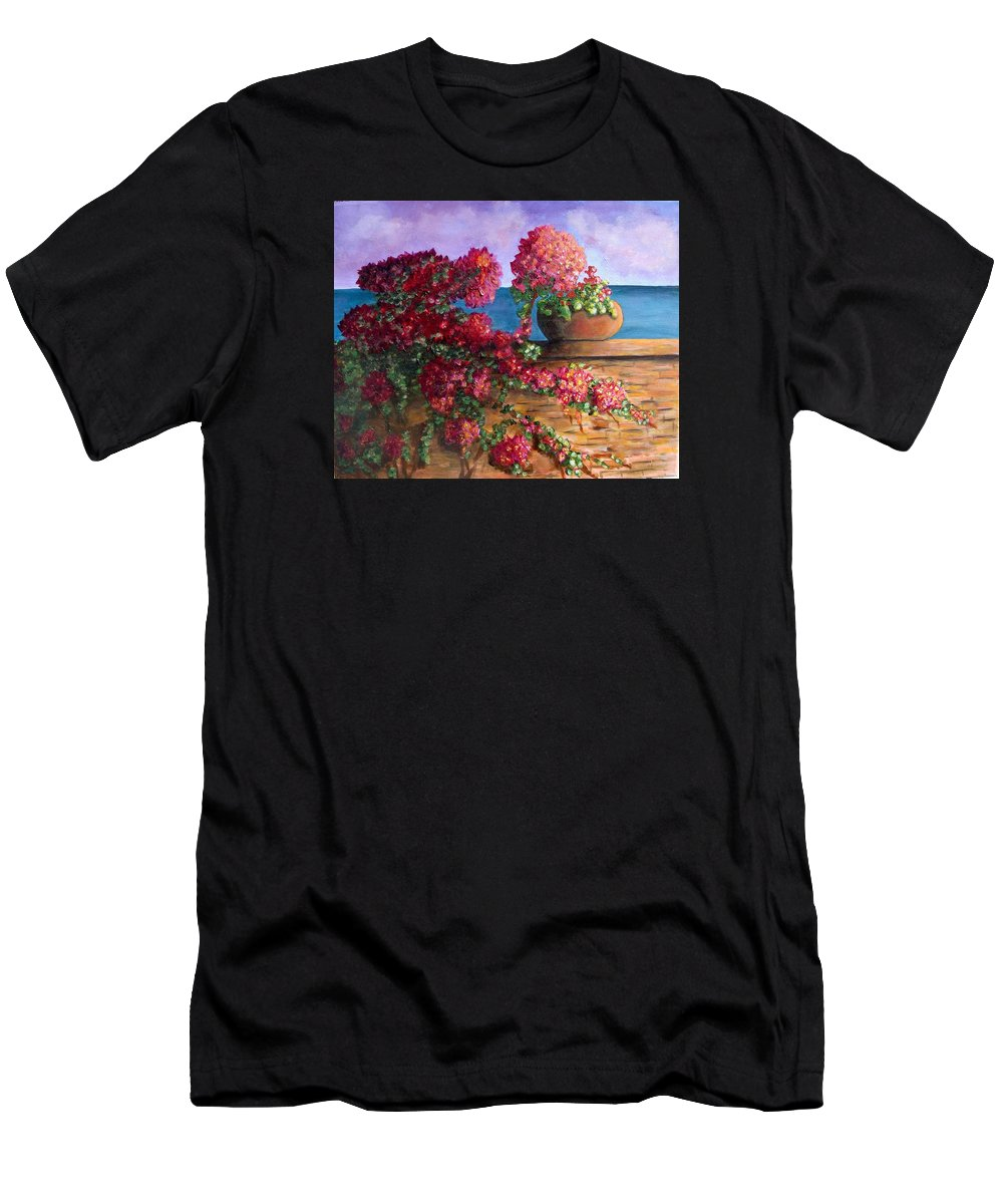 Bougainvillea Men's T-Shirt (Athletic Fit) featuring the painting Bountiful Bougainvillea by Laurie Morgan