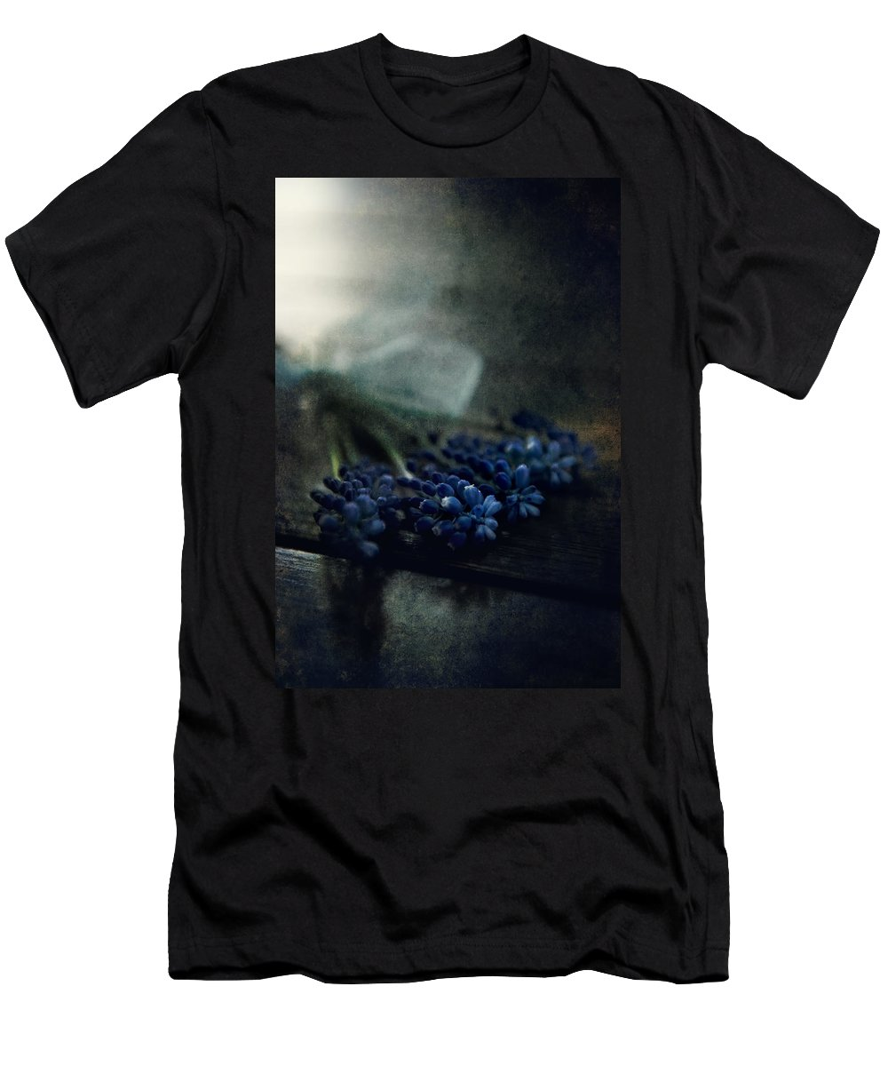 Bouquet Men's T-Shirt (Athletic Fit) featuring the photograph Bouquet Of Grape Hyiacints On The Dark Textured Surface by Jaroslaw Blaminsky