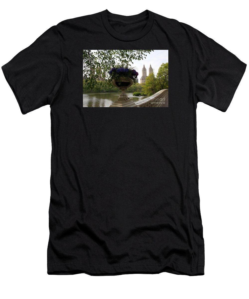 Bow Bridge Men's T-Shirt (Athletic Fit) featuring the photograph Bow Bridge Flowerpot And San Remo Nyc by Christiane Schulze Art And Photography